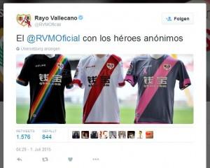 Inspiration für Pauli? Das äußerst inklusive Hemd von Rayo Vallecano, vorgestellt auf dem offiziellen Twitter-Account des spanischen Erstligisten