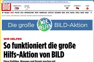 """Vorm Karren des Boulevards? """"Bild""""-Aktion für Flüchtlinge. Mit dem Logo liefen im September einige Bundesligisten auf."""