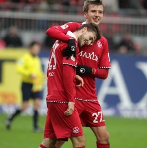 Glückliche Torschützen, Maurice Deville und Mateusz Klich (©thof)