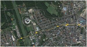 Lage des Sportforum mit WM-Arena im Stadtgebiet (Screenshot Google-Maps)