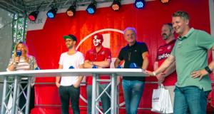 Talkrunde mit Jssica Kastrop, Mark Forster, Matthias Gehring, Hans-Peter Briegel, Friedhelm Weber und Thomas Riedel (v.l.; Foto: 1.FCK)
