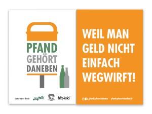 Pfand gehört daneben. Initiative aus dem Jahr 2011 (Bild: www.pfand-gehoert-daneben.de)