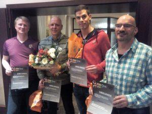 Für 10 Jahre Mitgliedschaft geehrt - v.l., Mark G., Matthias G., MAtthias W., Christian S. und... (Foto: MP)